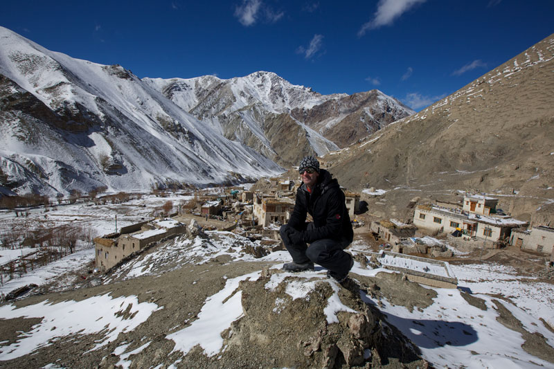 Ian perched over the town of Rumbak after a successful quest in search for Snow Leopards.