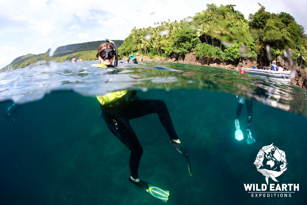 Robin our Marine Biologist leads the snorkelers - Philippines - Wild Earth Expeditions