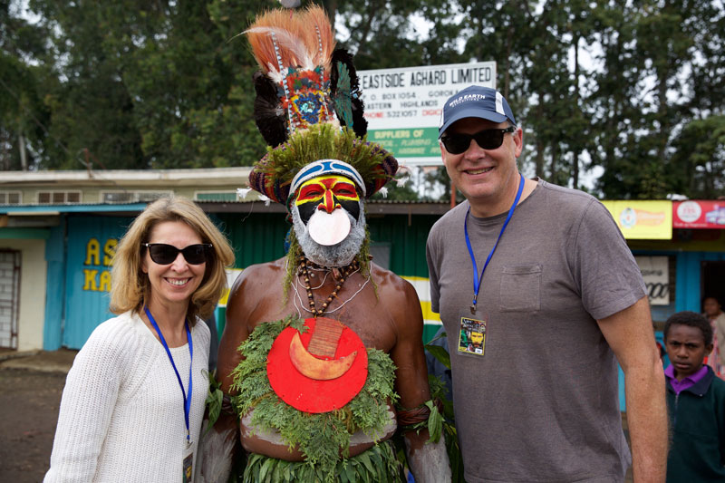 Susie and John getting to know the locals at the Goroka Show.
