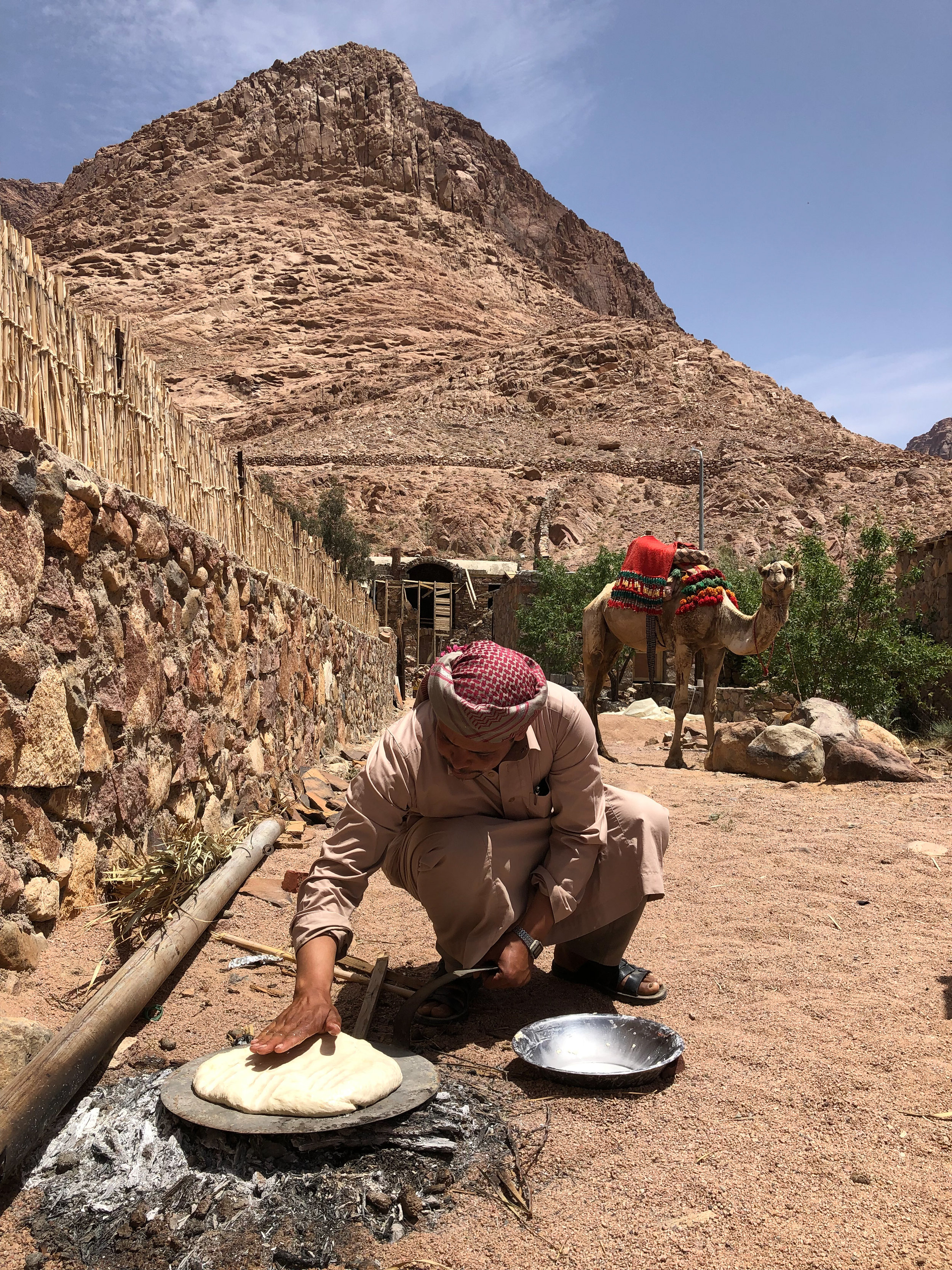 Bedouin making bread, St Catherines City, Sinai - Egypt - Wild Earth Expeditions
