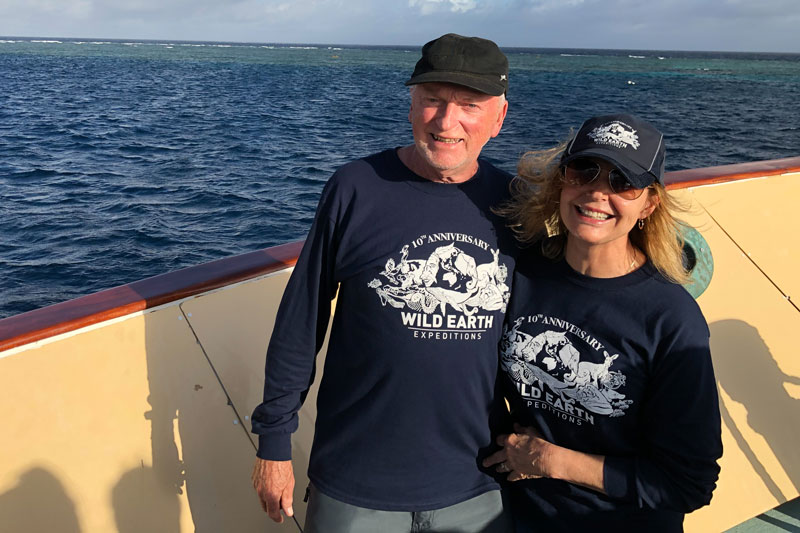 Frank and Wendy happy after their exceptional in-water encounter with 30 plus Minke whales on the Great Barrier Reef.