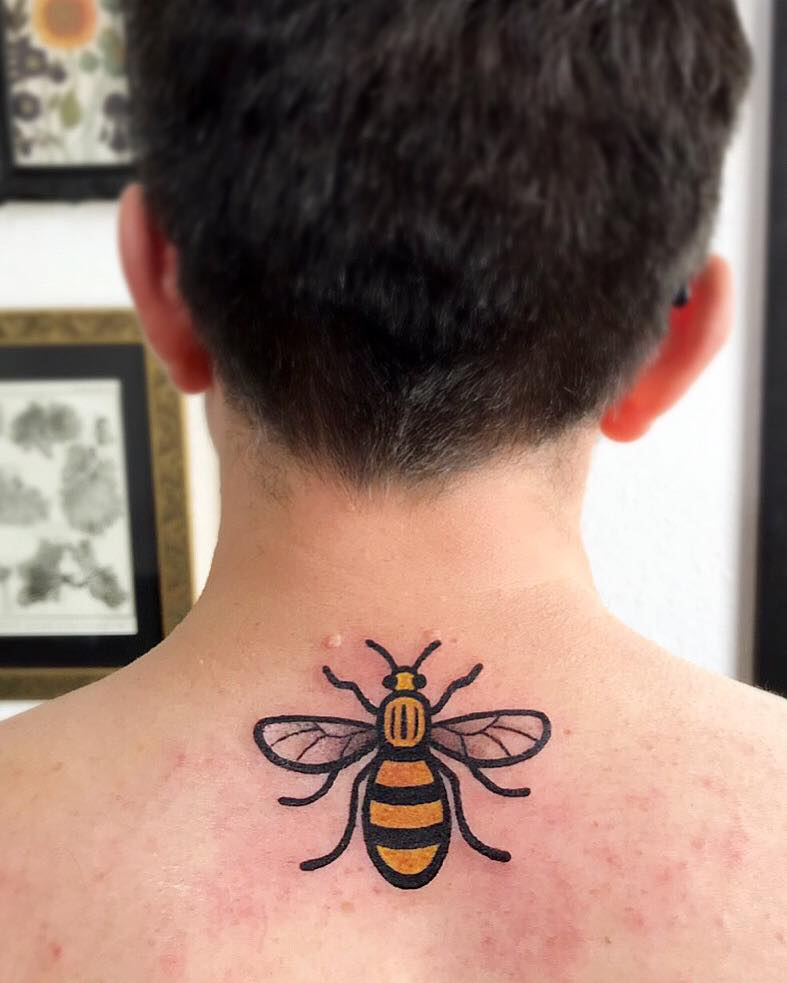 Manchester Worker Bee tattoo by our artist  Remy .