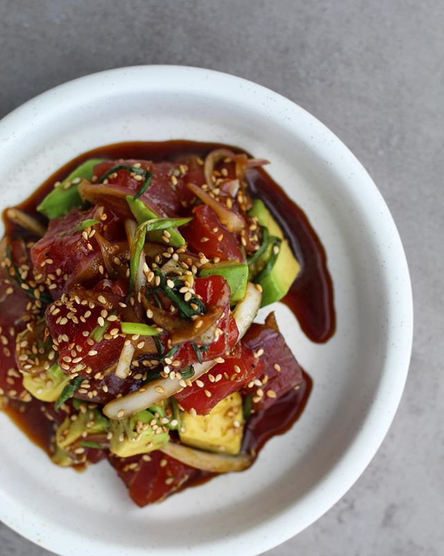 Ahi tuna poke with avocado, sweet onion, sesame, red chile. Perfect with a warm bowl of crispy masa chips and a cocktail on our sunny ☀️ patio! #noosanortheast #eriepa