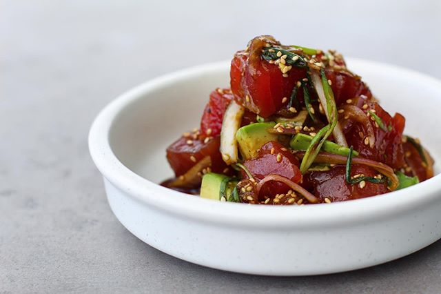 bigeye tuna poké with avocado 🥑, sweet onion, turbinado sugar, chili oil, soy, sesame... perfect with a bowl in warm masa chips and a lakeview