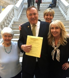 L to R: Sue Marquardt, Sen. Jim Dabakis, Jane Marquardt, and Tami Marquardt at the Signing of SB 296