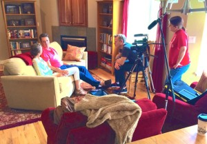 Dan Karslake (with DP Amy Bronson) shooting an interview with John and Margi Dehlin in their home in Logan, UT