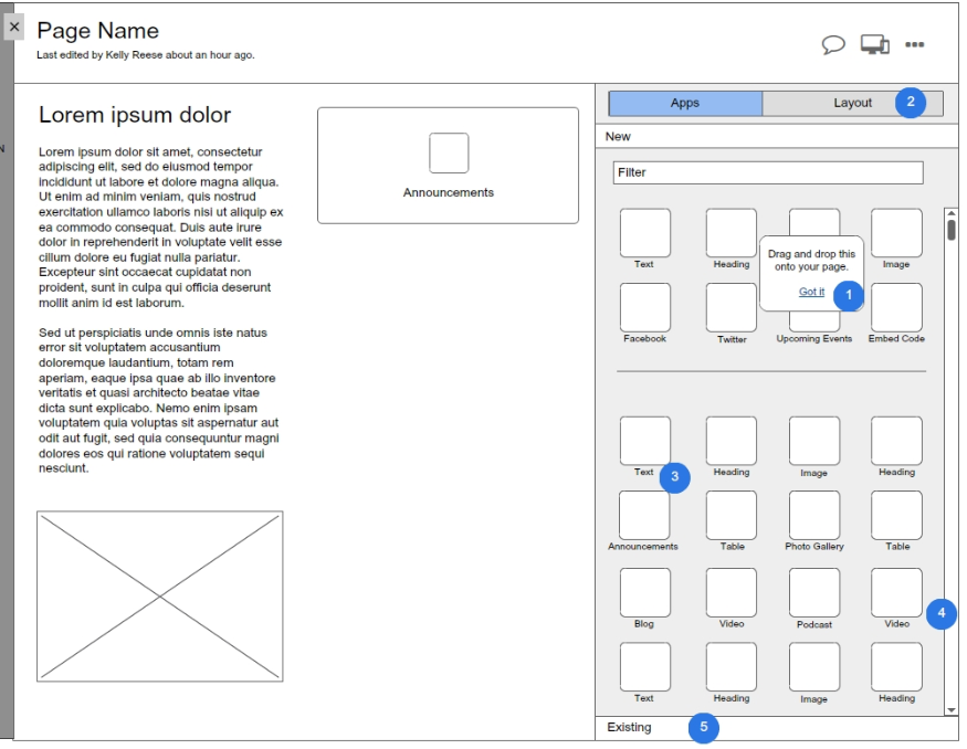 The same page of the updated wireframes with a reorganized design