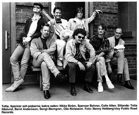 Left to right: (back row) Nikke Ström, Spencer Bohren, Colin Allen. (front row) Totta Naslund, Bernt Andersson, Bengt Blomgren, Olle Niclasson.