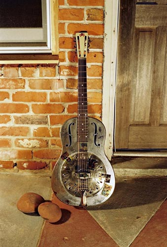 National Steel Guitar photographed for the German release of Down the Dirt Road Blues.