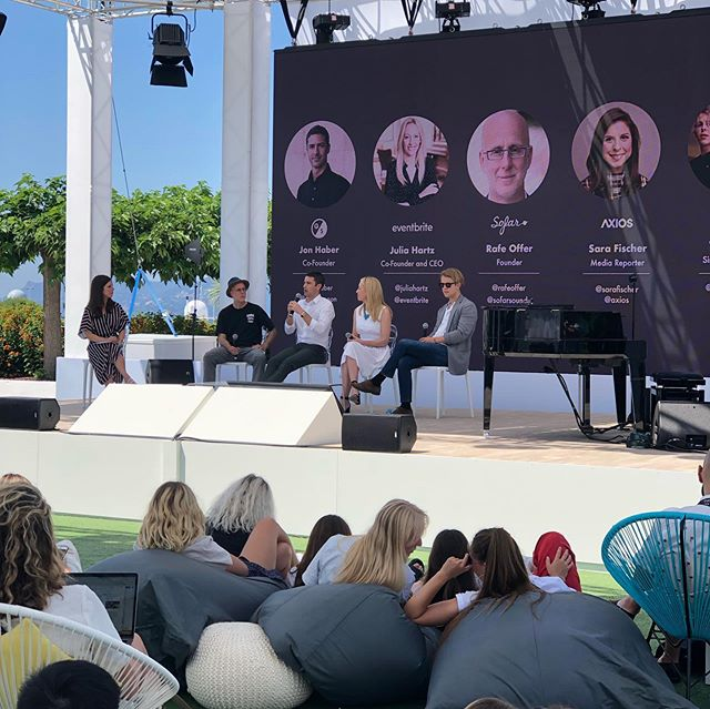 An amazing morning at @cannes_lions speaking about community and authentic experiences alongside the brilliant Julia Hartz of @eventbrite and Jon Haber of @giant_spoon. We even kicked off the panel with a beautiful performance from my dear friend @tompeterodell! #sofarsounds #canneslions