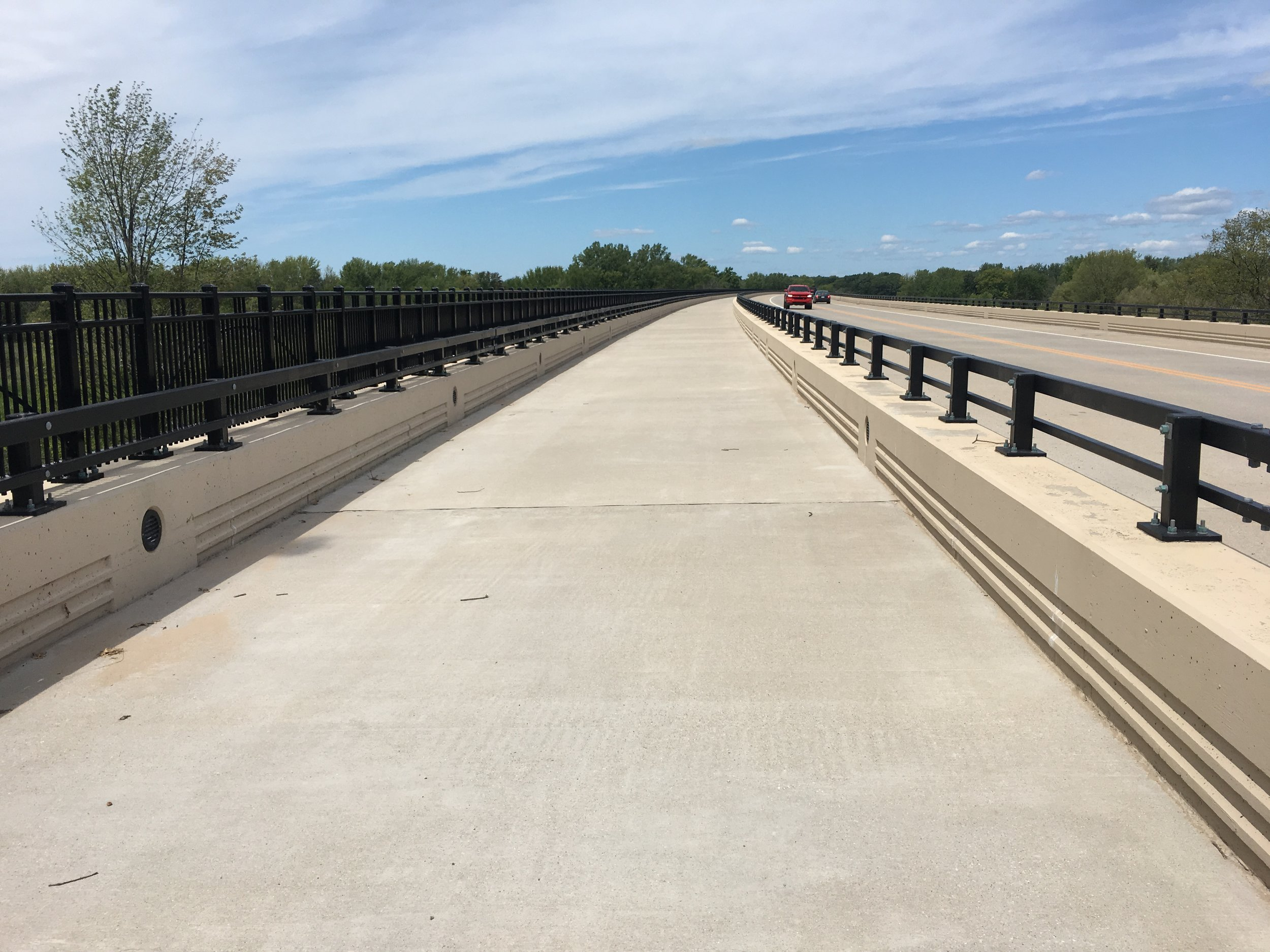Spoonville Trail over the Grand River. This entire lane is separated from traffic and for bicycles only.