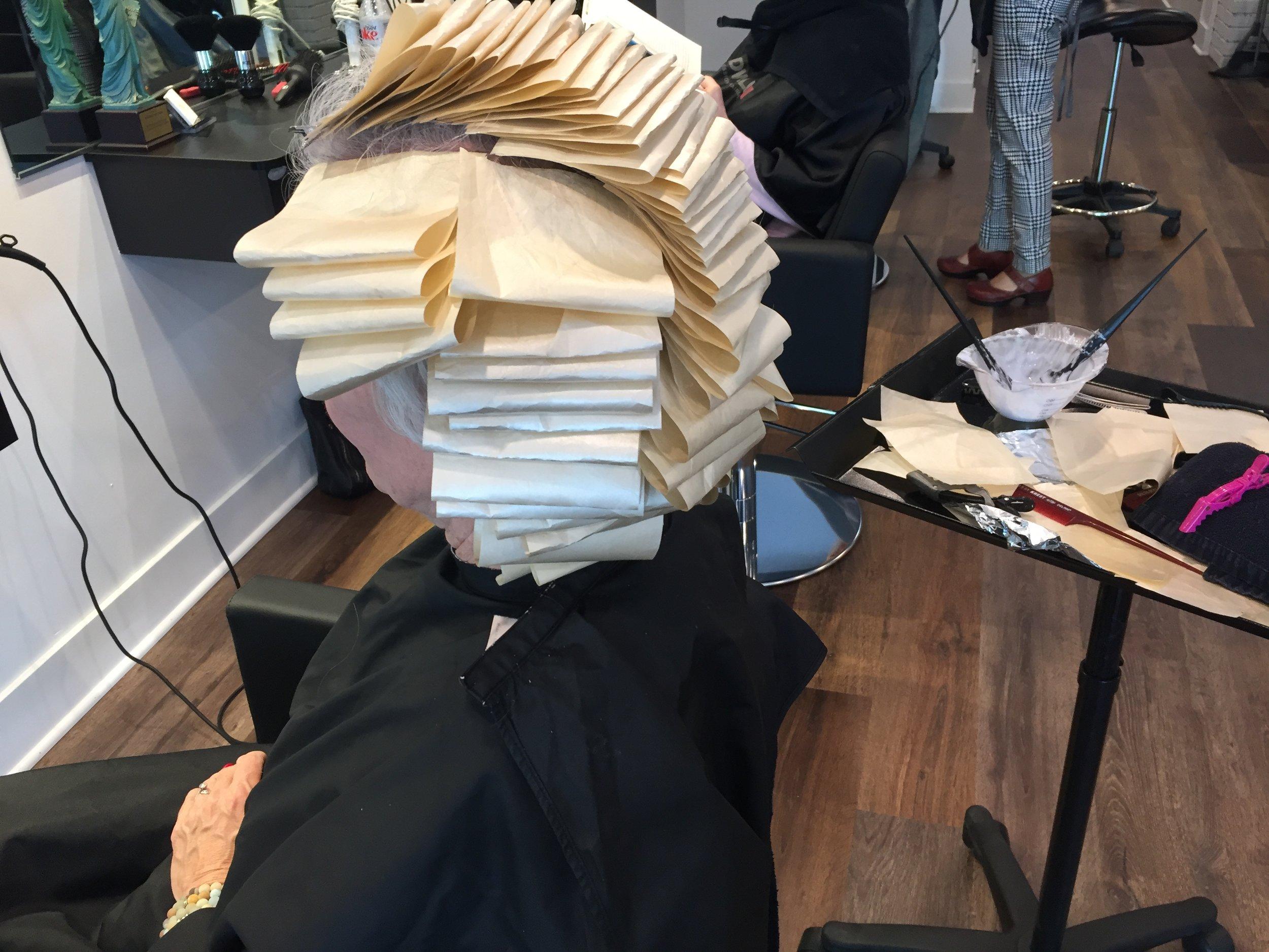 Full head highlights and haircut