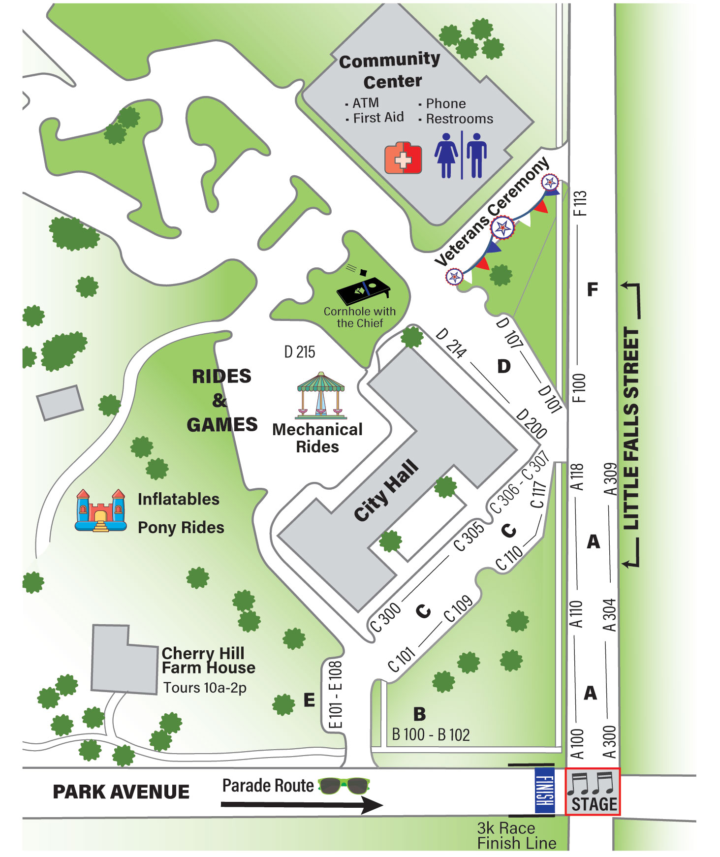 Map of the 2017 Falls Church Memorial Day Festival