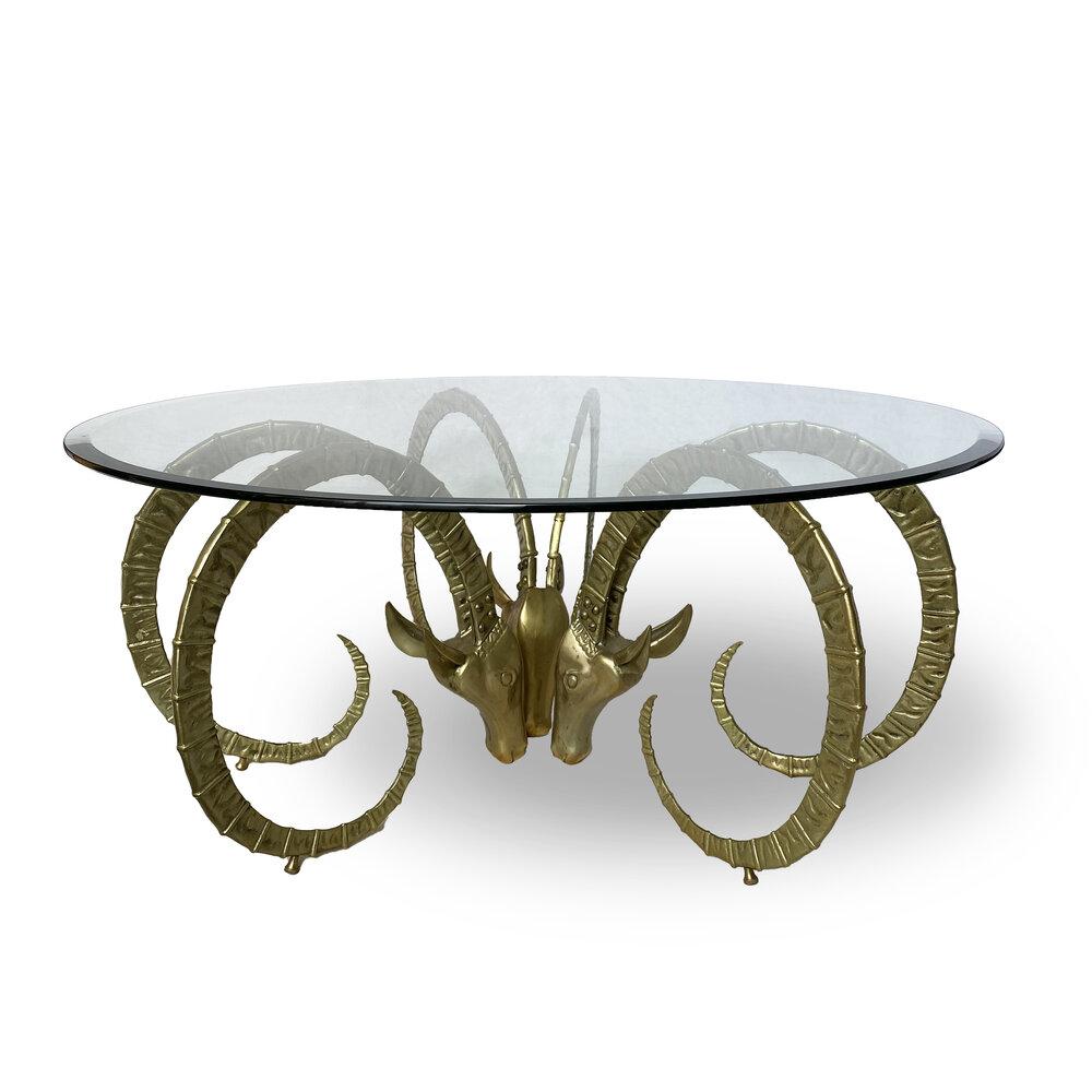 Vintage Ibex Ram Brass Coffee Table Weisshouse