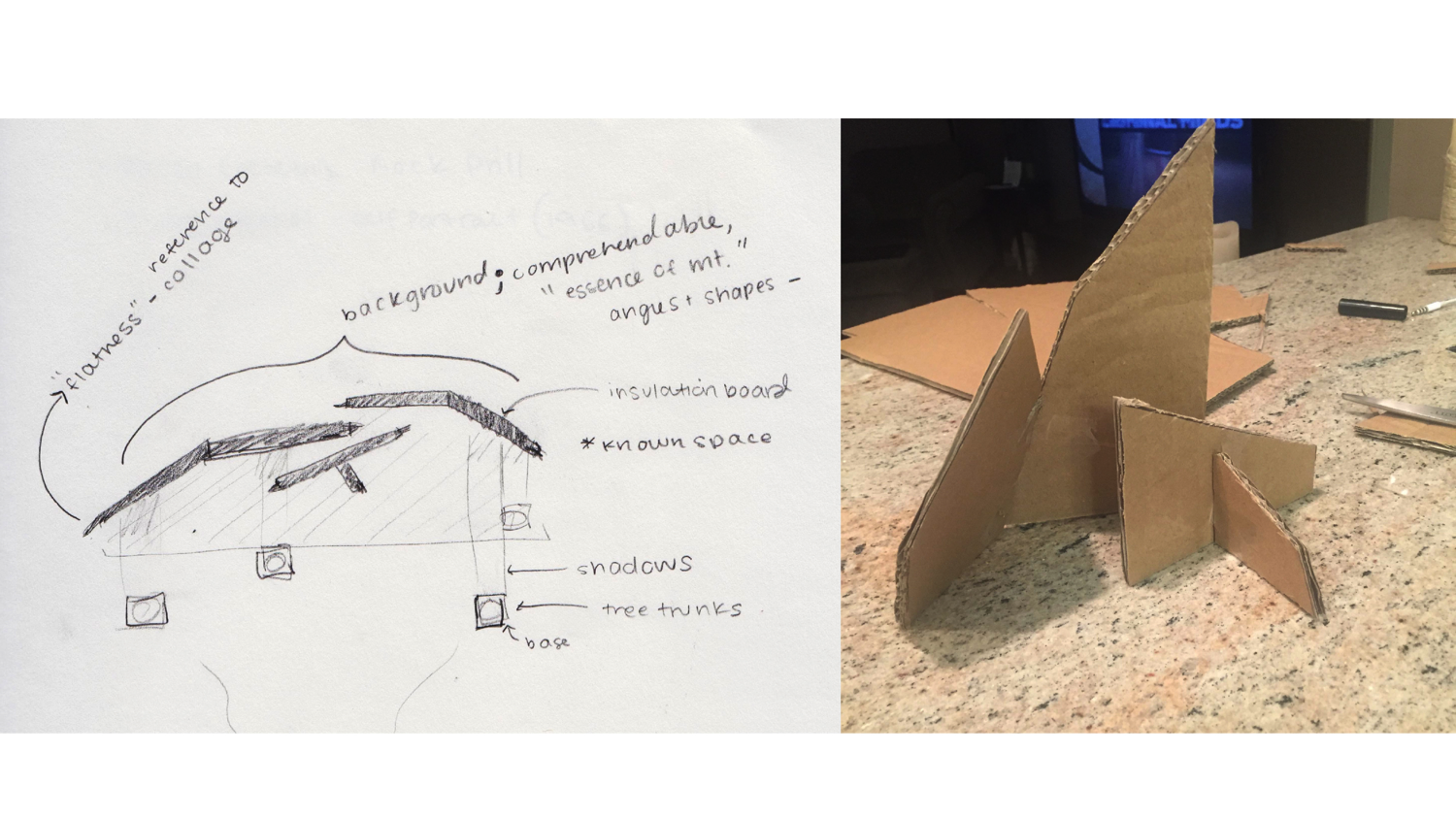 Sketch and model of installation consturction