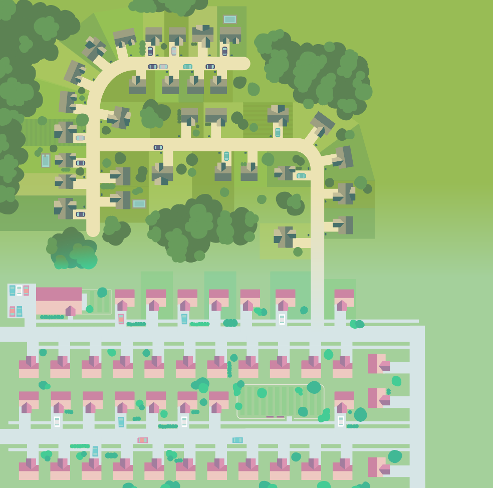 Creating gradients to blend the neighborhoods together.