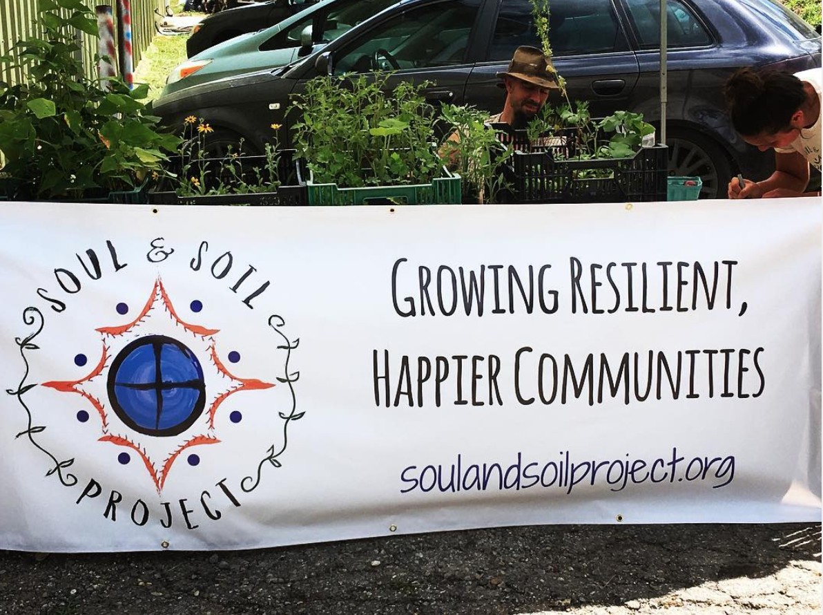 """- (Asheville, NC) Soul and Soil Project is a worker run nonprofit focused on resiliency education and arts to empower and inspire folks to get engaged in earth, food and social justice. They are doing a regenerative farmstead project, in conjunction with disaster relief efforts. We were excited to work with them on creating a community """"sensory"""" garden inside their west Asheville hub on June 22, 2018, along with a bunch of our fans!Watch footage from the event!"""