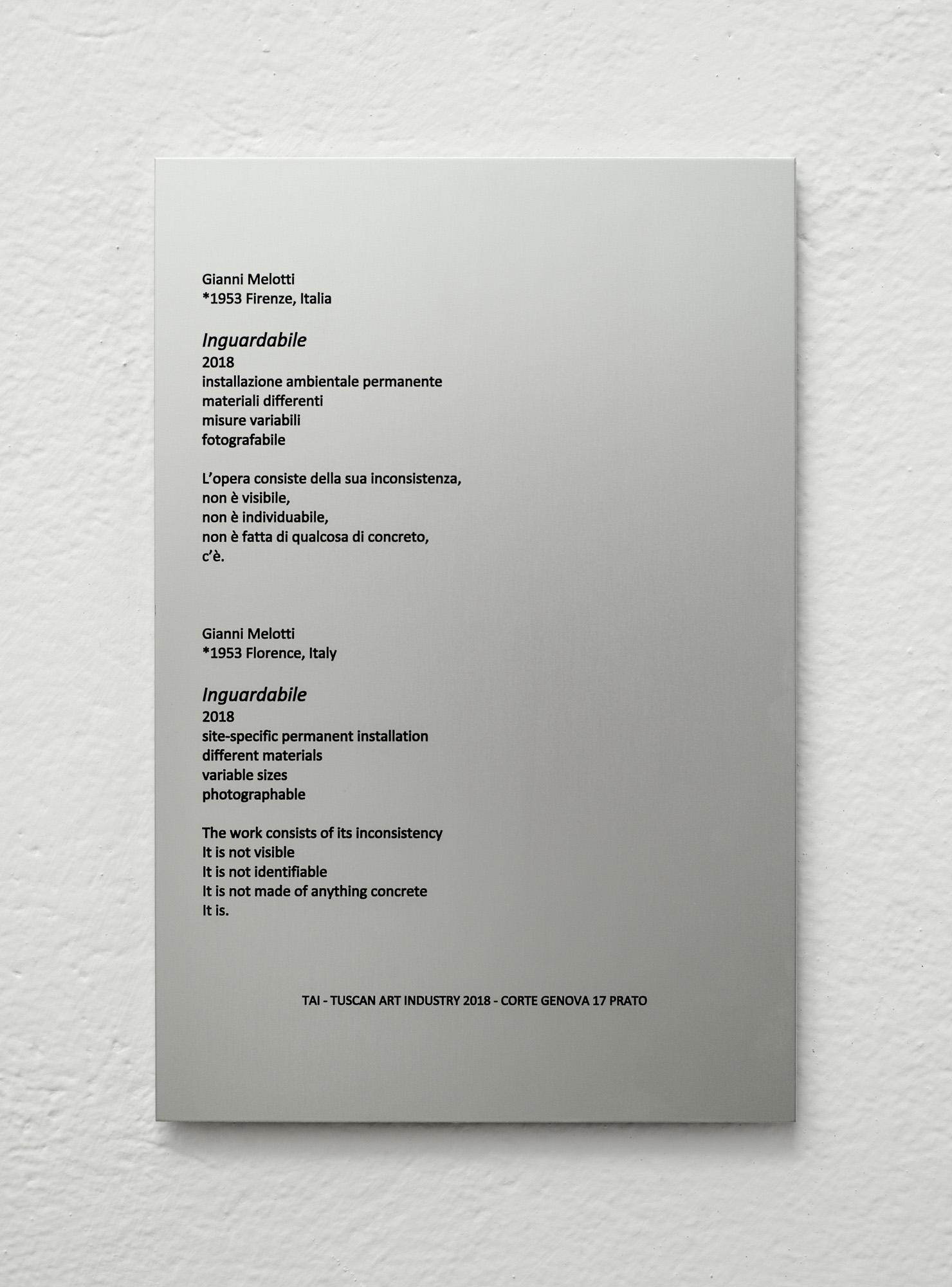 GIANNI MELOTTI INGUARDABILE_TAI, 2018, alluminio anodizzato con incisione, 30x20cm_1.JPG