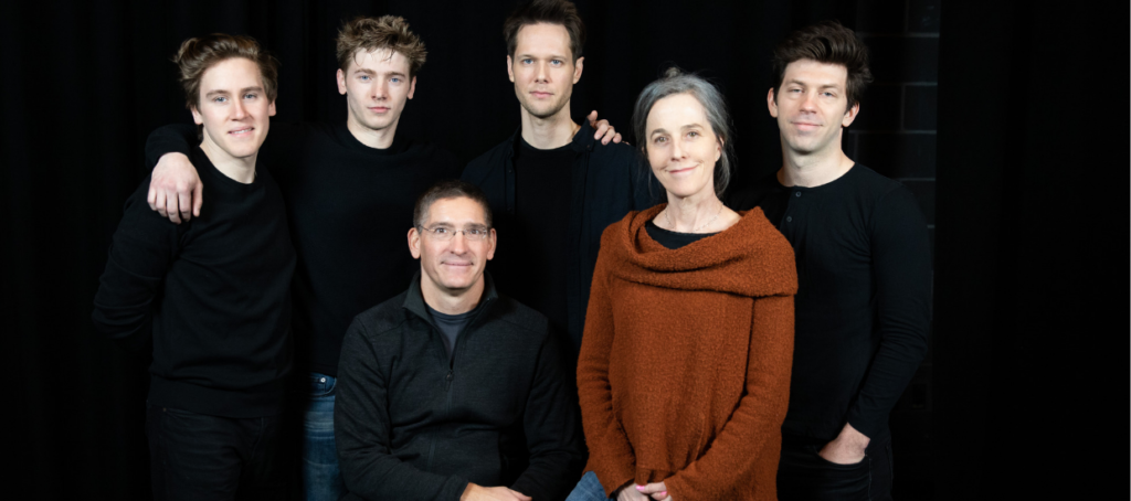 Back Row: Spencer Hamp (Young Birdy), Maxim Chumov (Young Al), Will Taylor (Birdy), Keith White (Sgt. Al)  Front Row: Steven Maler (Director), Namoi Wallace (Playwright)