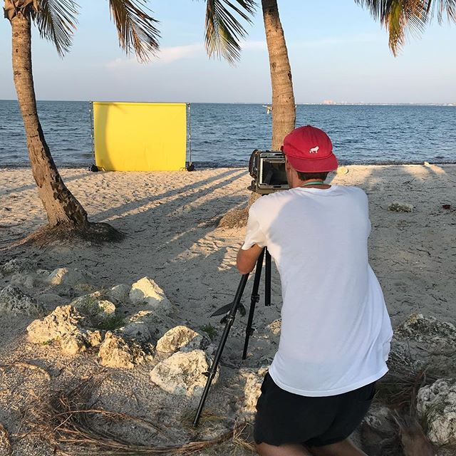 """On location with Momentum artist Ian O Connor and his """"Transcend"""" series .Fun day of shooting with a great guy @momentum_fine_art @ianpatrickoconnor #colorfield #fneartphotography #miamjartist #miamibeach #aguadiparma #yellow #beach #wista #4x5filmphotography"""