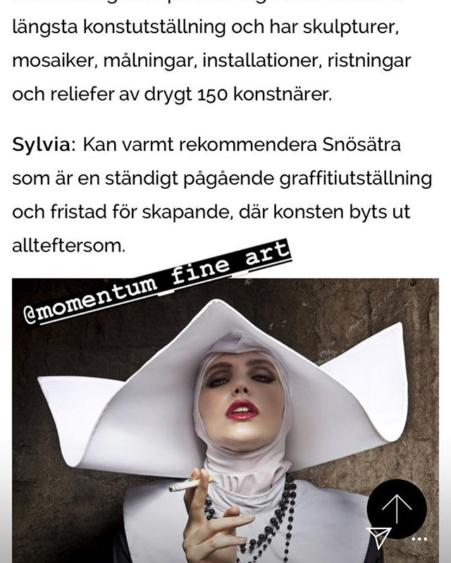 """Thanks to Bernice and Sylvia from AAF Stockholm who posted an article on """"The Smoking Nun"""" by husband and wife team Formento + Formento @momentum_fine_art @formento2 @affordableartfairsthlm #smokingnun #nun"""
