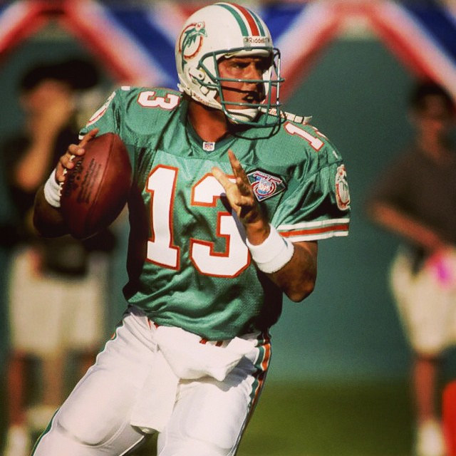 Internet Photo   Dan Marino of the 1993 Miami Dolphins looks down field for an open receiver.