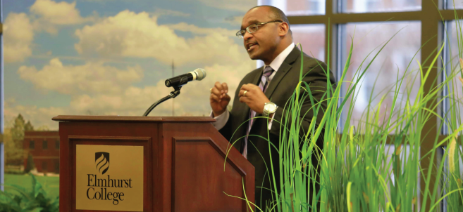 """On February 20, Elmhurst College held its annual Martin Luther King Jr. Intercultural Lecture featuring Brad R. Braxton as the speaker. Braxton is an ordained minister, scholar, and author. He also serves as the director of the Center for the Study of African American Religious Life and as the supervisory curator of religion at Smithsonian National Museum of African American History and Culture in Washington D.C. In his lecture titled """"A Blueprint for the Beloved Community"""", Braxton used his experiences to discuss leadership and how it can maintain effective and ethical in the public eye."""