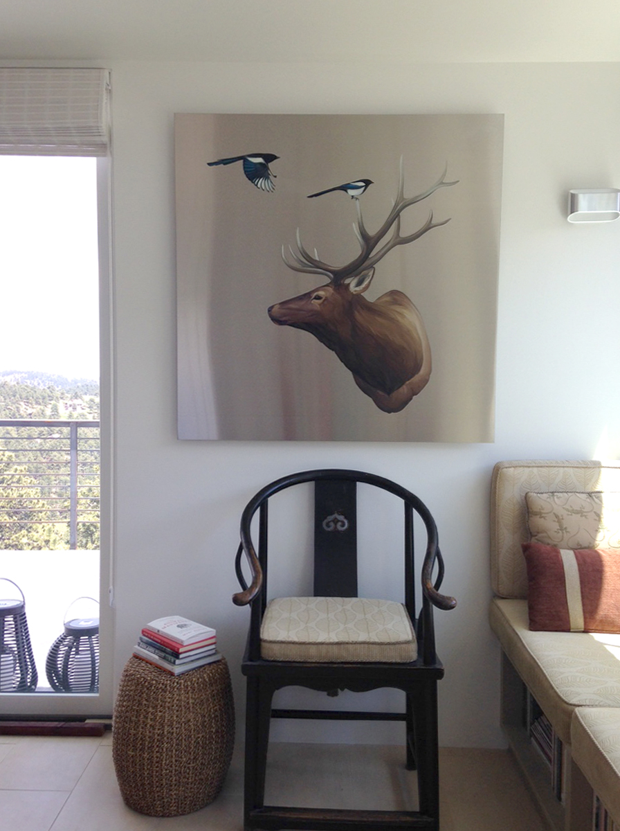 Elk with Magpies installed in Boulder home (private collection)