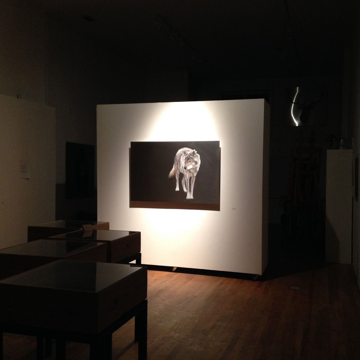 Lone Wolf at night in the gallery. Available at Trove Gallery, Park City, UT
