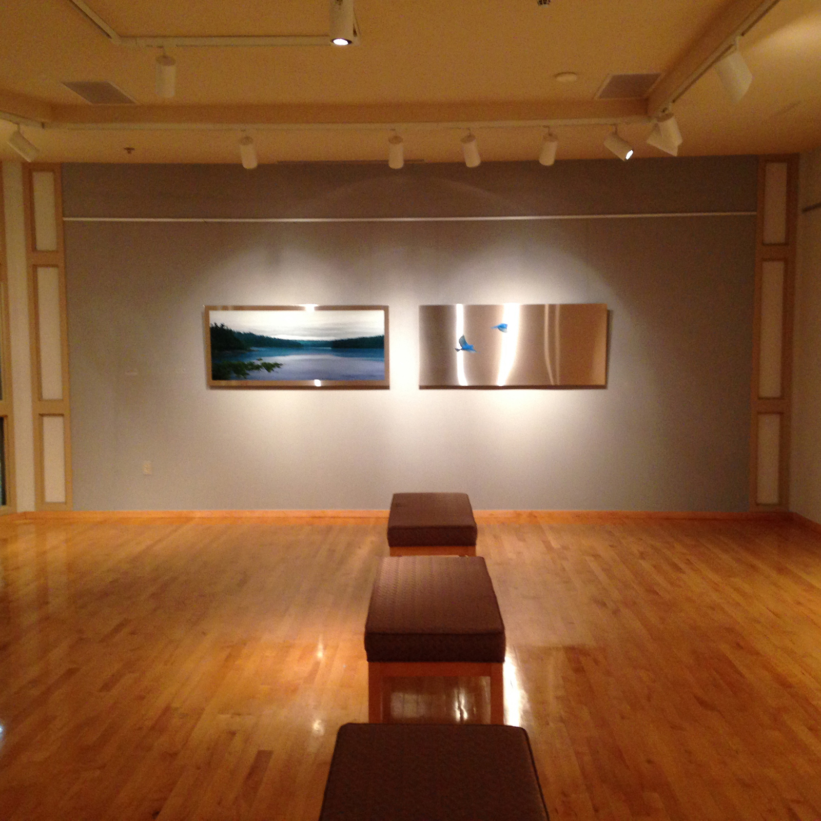Installation view of Departure diptych at the Lakewood Cultural Center from the exhibition Unbound ,  2015