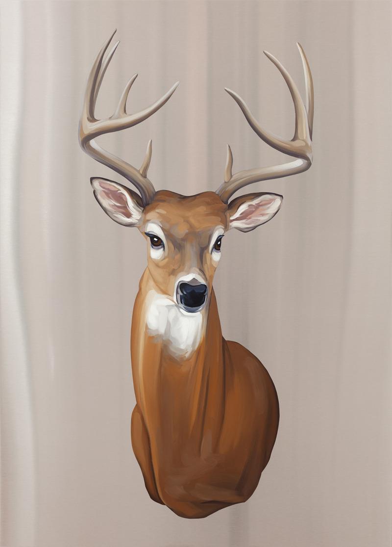 Trophy Deer . Oil on stainless steel, 39in x 28in. $2,800