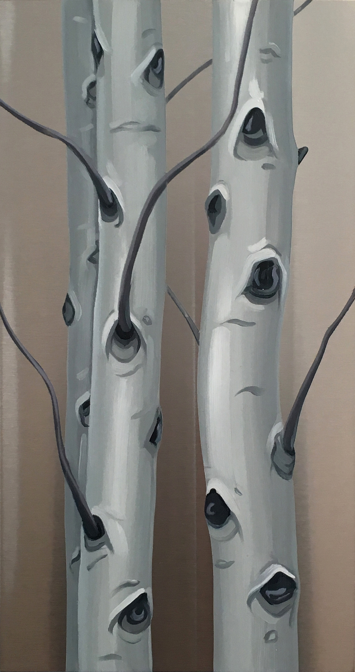 The Gathering . Oil on stainless steel, 15in x 8in. Available at Evergreen Fine Art