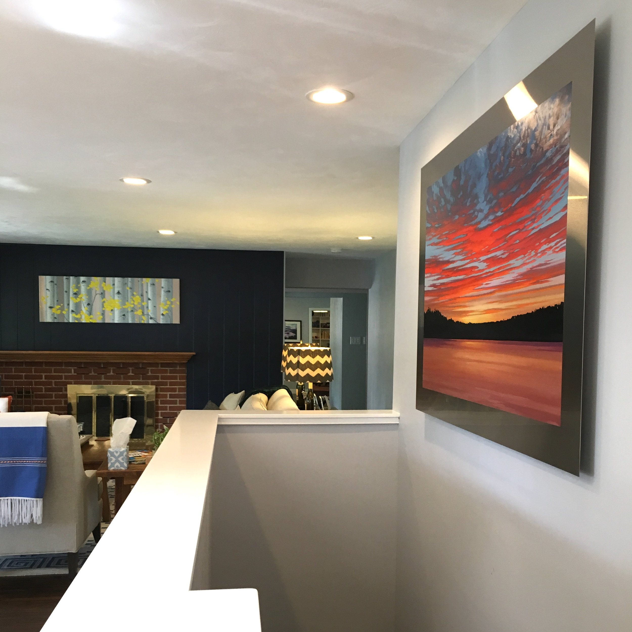 Lakescape and aspen painting installed in Denver home
