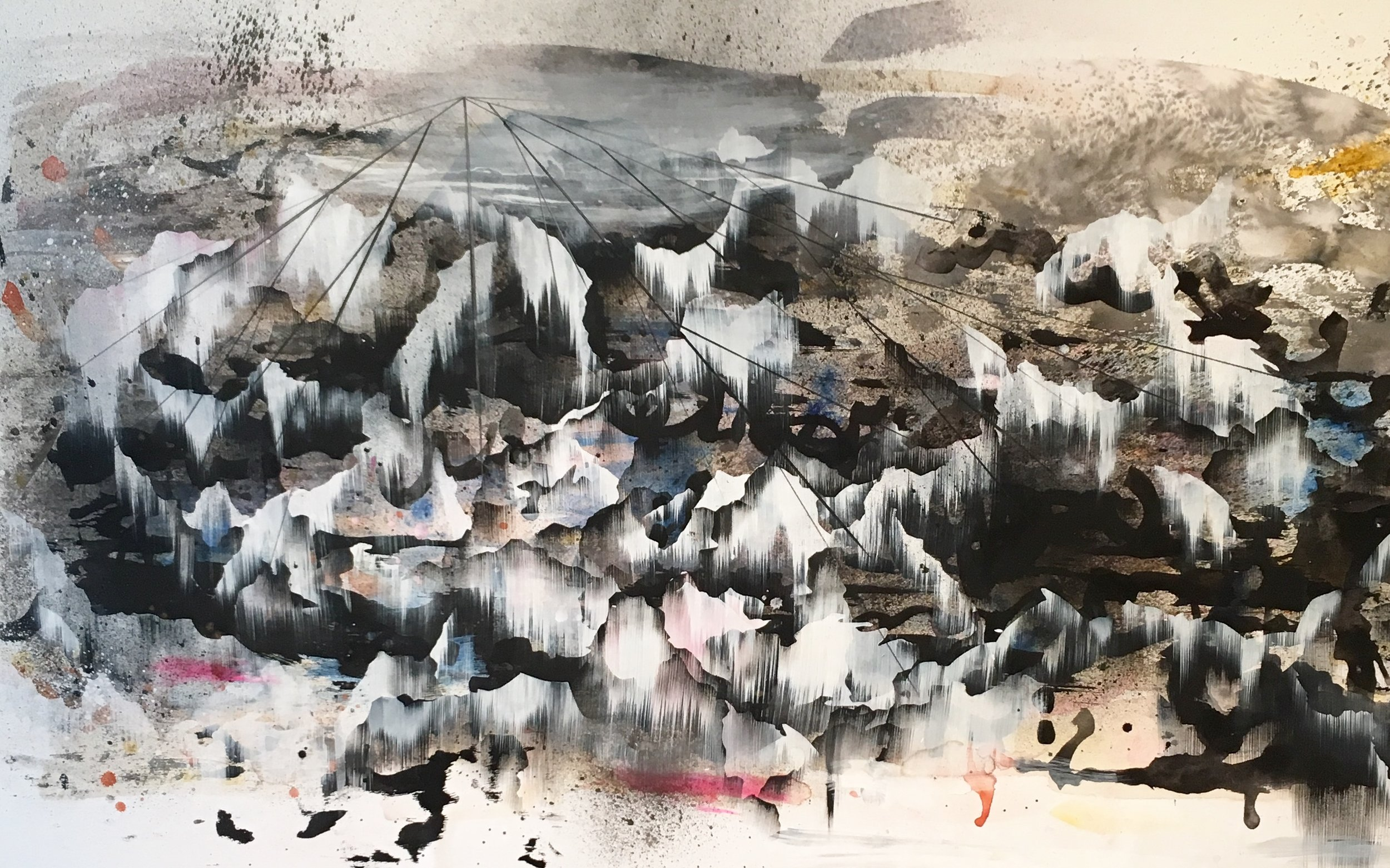 Succession by featured artist Fawn Atencio. Mixed media on paper on panel, 41in x 65in