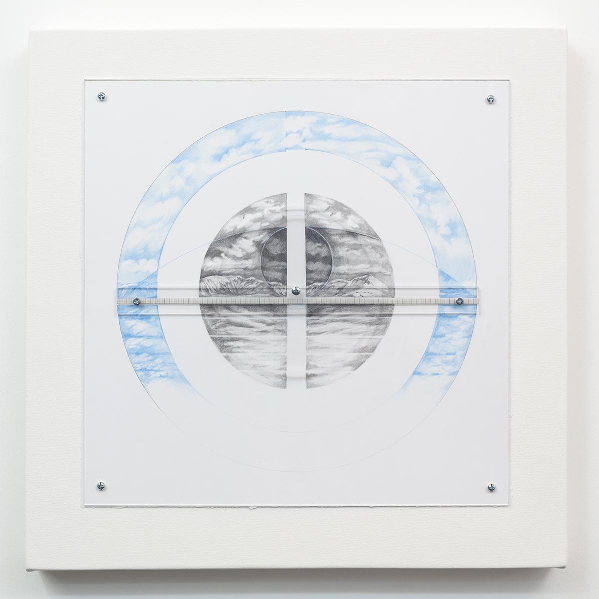 Focus, West  by Charles Parson. Plexiglas, paper, canvas, graphite, hardware. 23in x 23in $2,400