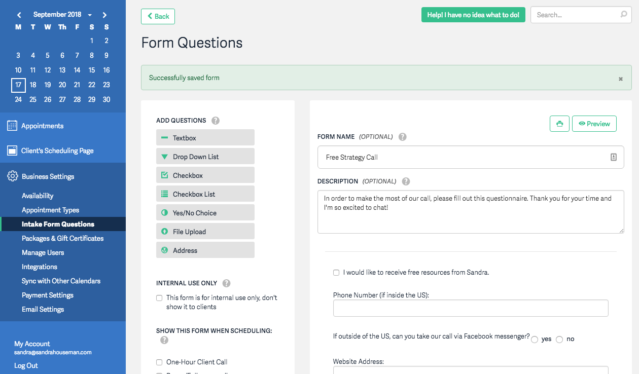 Acuity Form questions