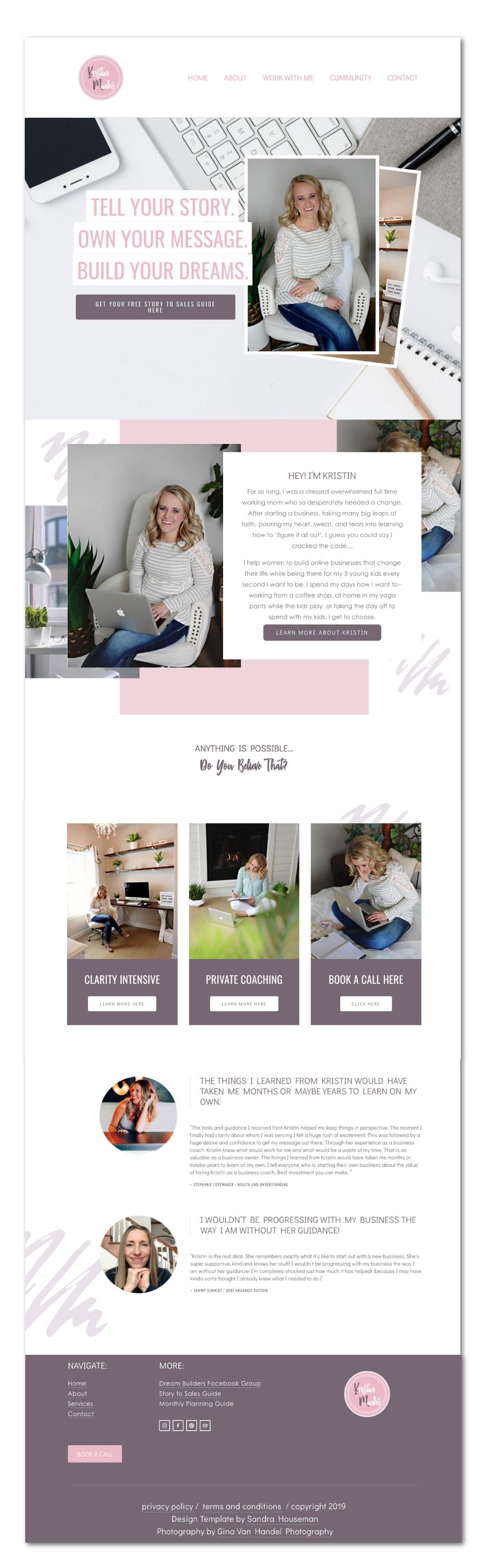 Squarespace template for a business coach