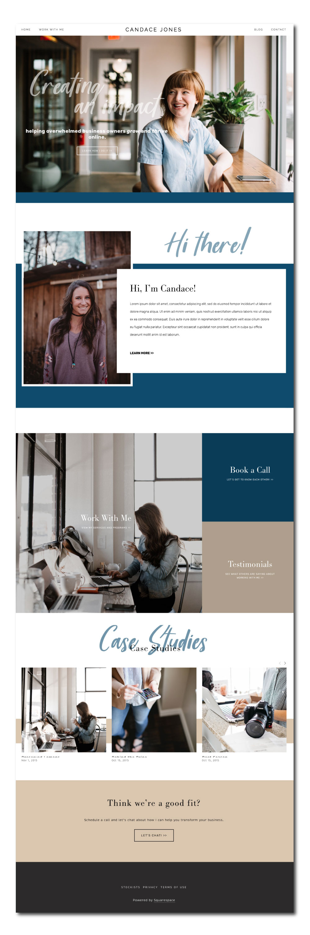 Squarespace template for business coach
