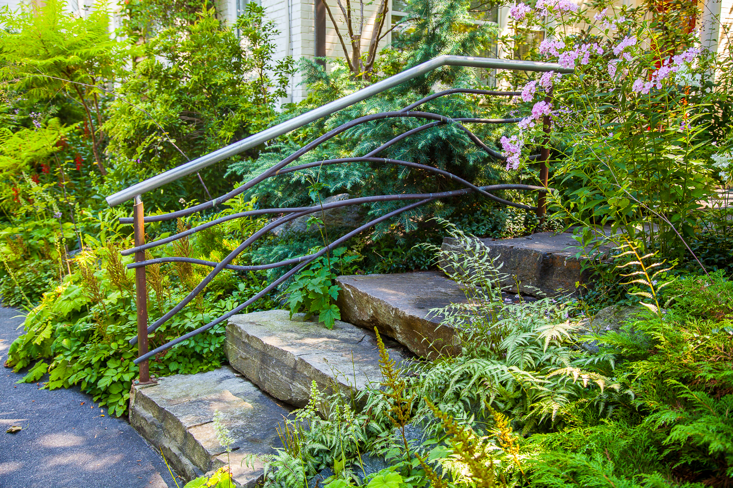 Gardens, Entryways, and Paths   Railing with botanical design element