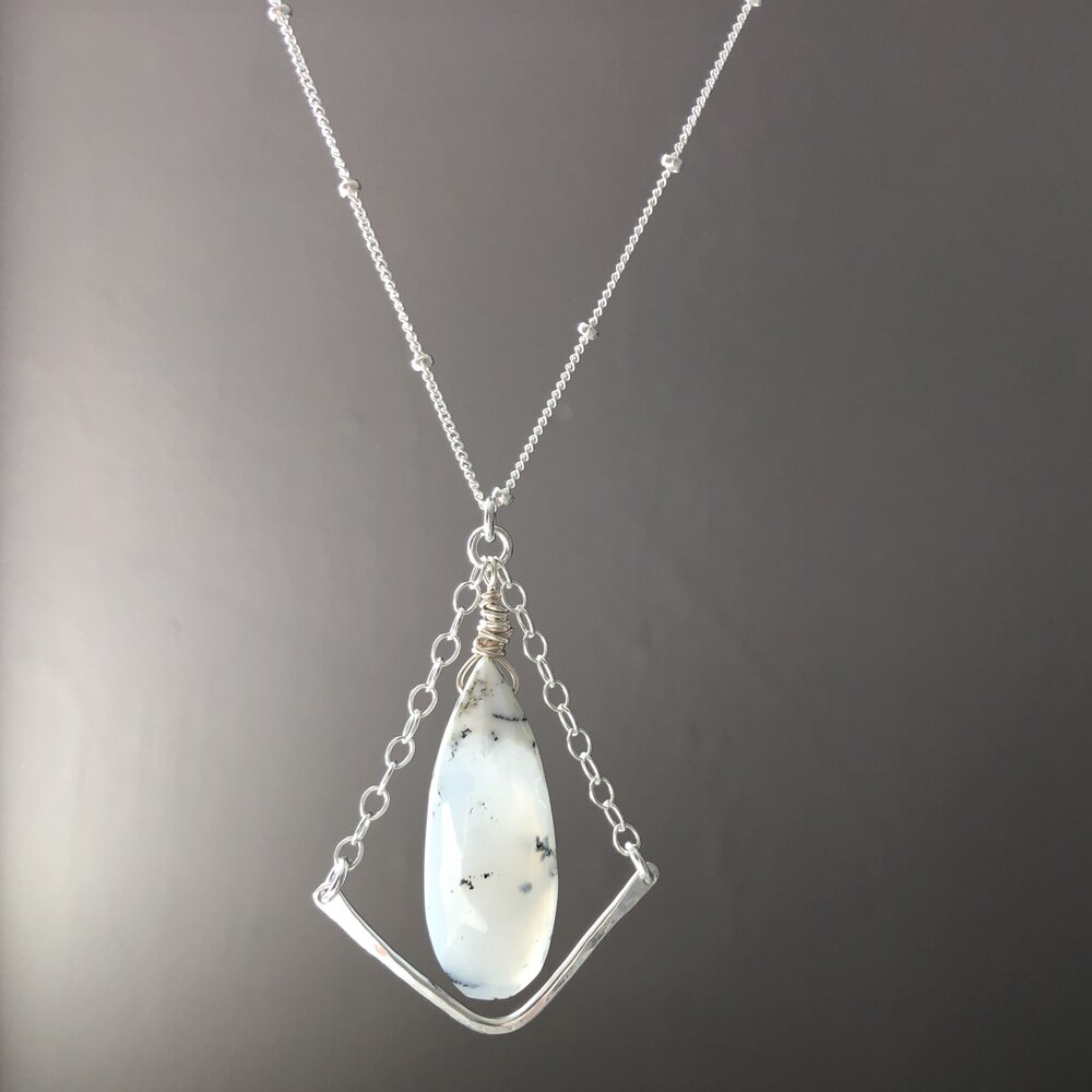 Necklace White horse with dendrite opal.