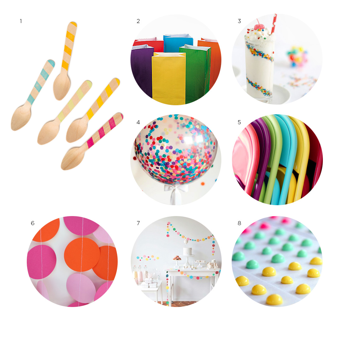 1) Bright graphic striped spoons from  SucreShop   2) Colorful treat bags from  Oriental Trading   3) Confetti milkshake how-to via  Sprinkle Bakes   4) DIY confetti filled balloons via  DIY Network   5) DIY painted folding chairs via  The Moon and Me  6) Pink and orange garland from  Etsy  7) Dessert display via  Sweet Style   8) Candy buttons via  Retroland .