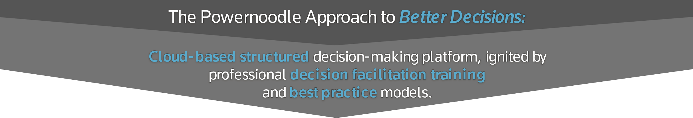 The Powernoodle Approach to better decisions.  Cloud-based structured decision-making platform, ignited by professional decision facilitation training and best practice models.