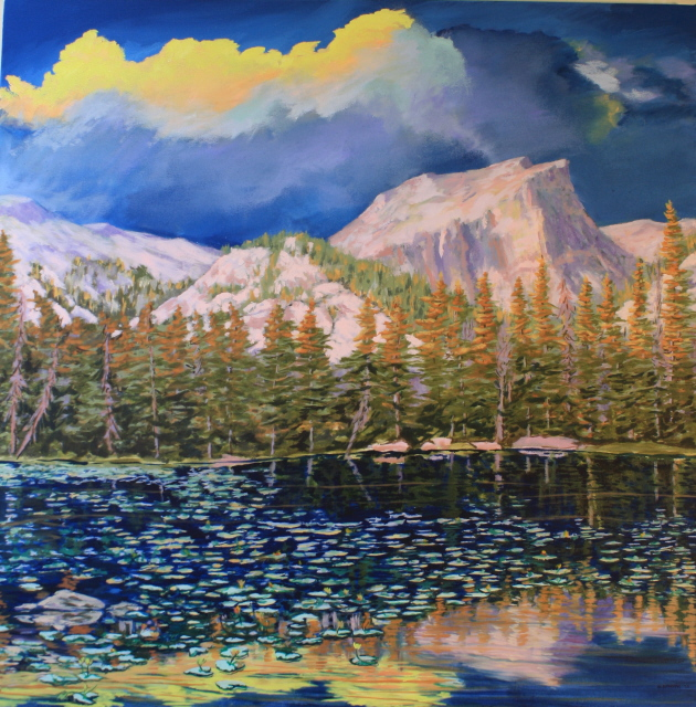 "Morning Comes to Dream Lake, oil on canvas, 32""x32"", framed, $2,000"