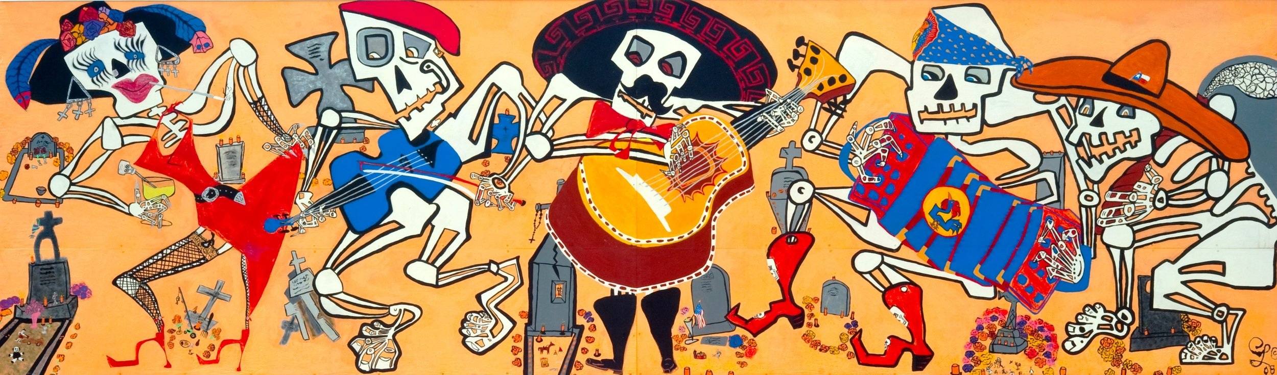 "Dia de Los Muertos   This limited edition (250), signed and numbered giclée of eRic's ""Dia de los Muertos"" mural can be yours - 8"" X 23"" for $64.00 (includes tax & freight). The mural (20ft X 6ft) has been reproduced and installed in the Valley International Airport, Harlingen, Texas and is archived in The National Heritage Preservation Society's Library of American murals and  Rescue Murals Project."