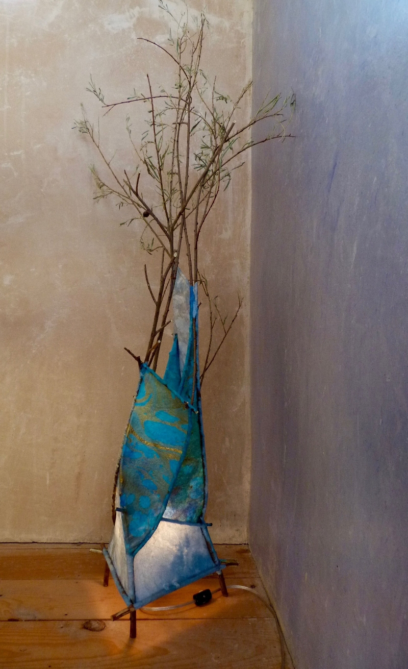 Sailing Through   Lamp: coyote willow branches, handmade paper