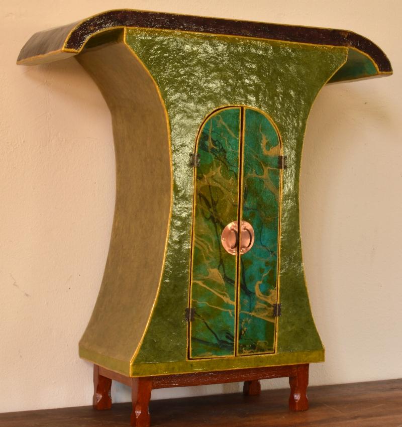 "Mushroom Table   wood furniture, handmade paper, shellac, 22""x24""x8"""