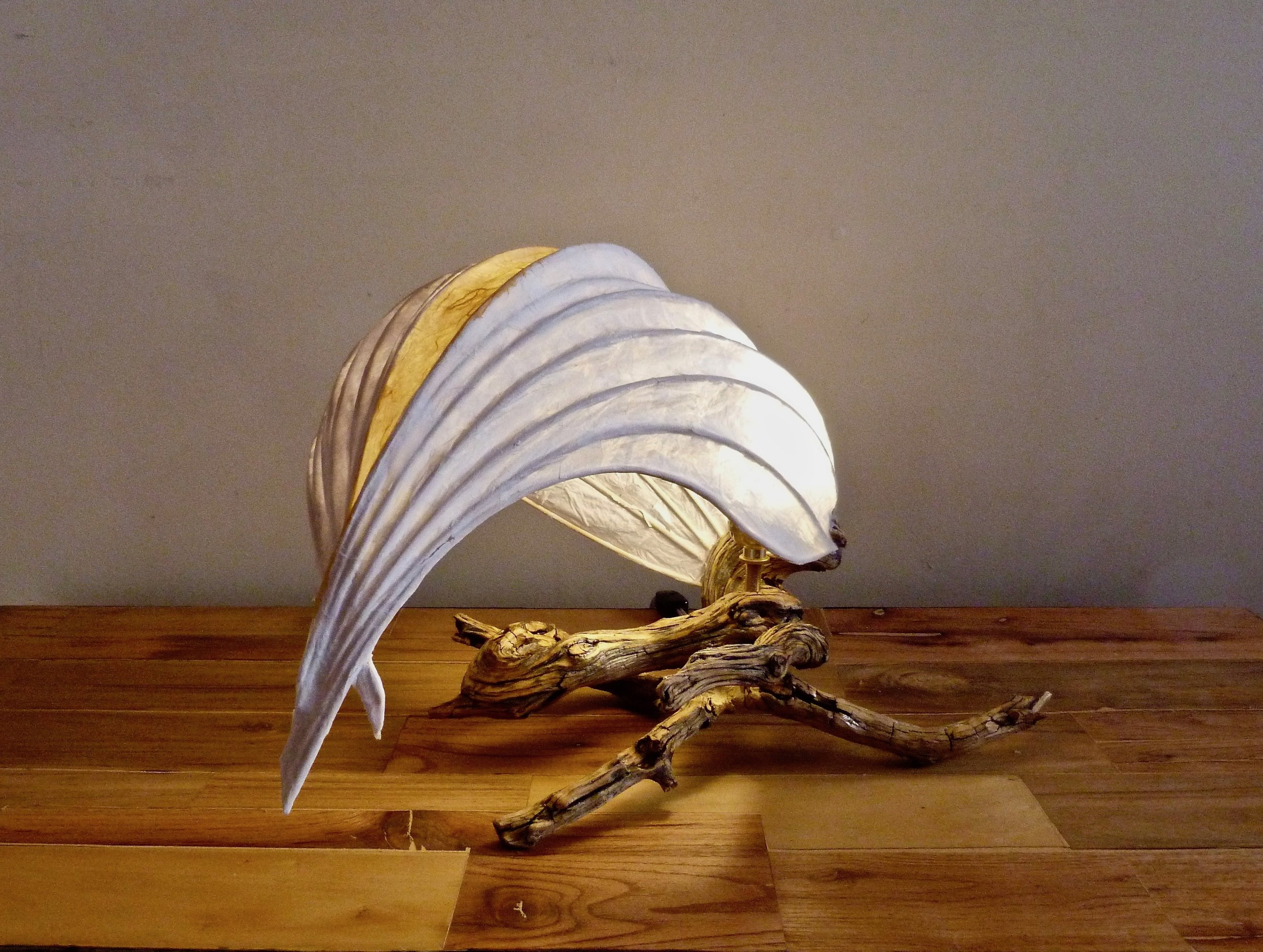 Wings of Silence   Lamp. Bamboo reeds, silk tissue paper, wood, glue, cedar branch