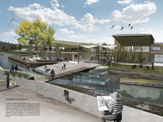 Graduate student Jan Pecenka's vision for the site is the Food Canopy Cooperative, sited along the millrace.
