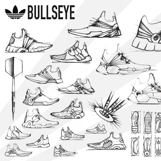 writing my bachelor thesis at the moment, so not much time to do anything else design related. But why not show you an old project I did for @adidas - footwear inspired by the sports of dart 🎯 . . . #design#drawing#sketch#designer#sketchaday#productdesign#industrialdesign#sketchbook#sketching#idsketching#designsketch#idsketch#productsketch#shoedesign#sneaker#sport#dart#inspired#bullseye#adidas#adidasoriginals#photoshop#render#rendering#variations#ideation#layout#sketches#shoes#designchallenge