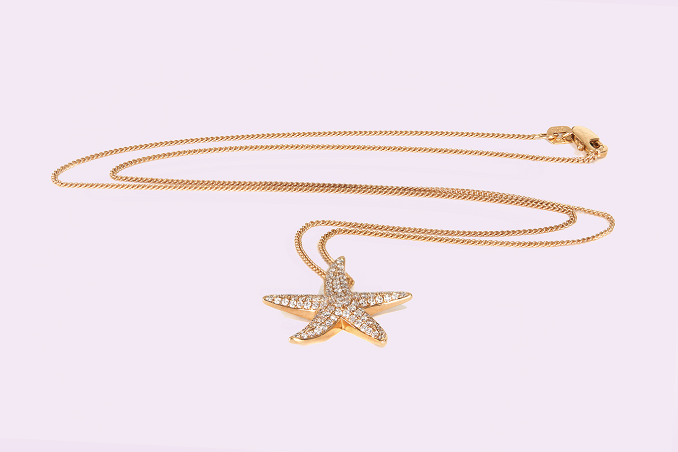 Starfish pendant on gold necklace